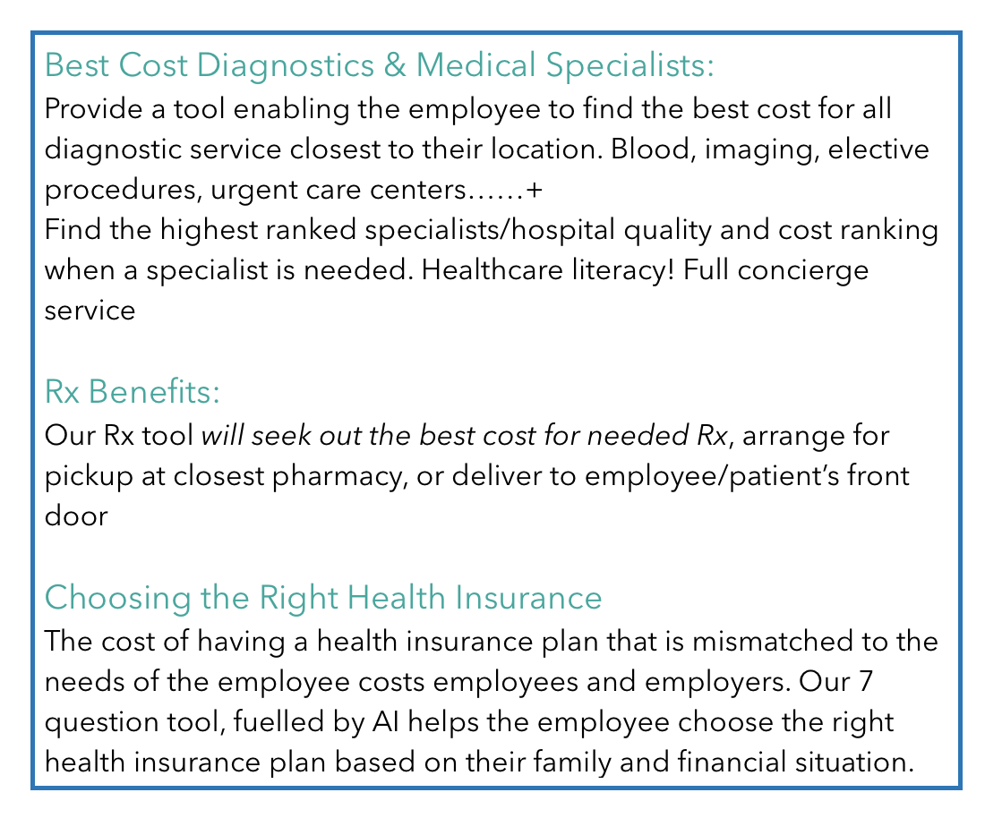 Reducing medical costs on diagnostics and prescription drugs